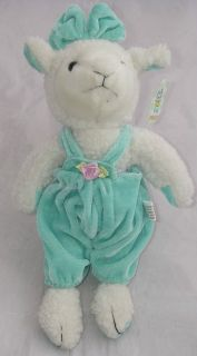 MWT Dollar Tree Plush White Spring Lamb Mint Green Blue Overalls 10