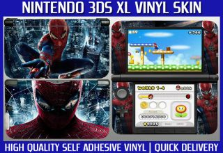 Spiderman Nintendo 3DS XL Vinyl Skin Sticker Cover, High Quality Vinyl