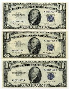 1953 A B UNC $10 Dollar Silver Certificate Blue Seal Bills 3 Notes E