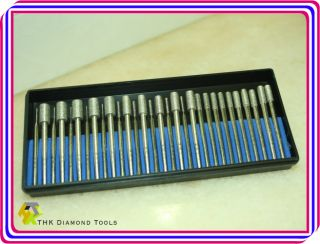 30 pieces Diamond coated rotary drills burr 1mm to 6mm CYLINDRICAL