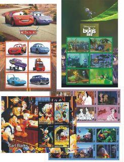 DISNEY 101 DALMATIANS DONALD CARS A BUGS LIFE 5 S SHEET MNH