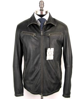 New Gimos Gimos Italy Black Leather Coat Jacket 50 40 40R M L $2 495