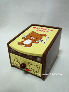 San x Rilakkuma Relax Brown Bear Wooden Jewel Jewelry Box with Mirror