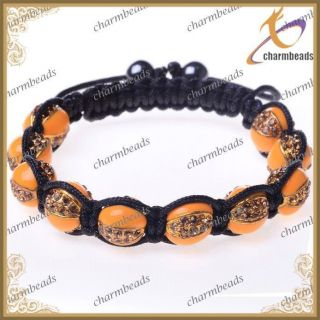 Crystal Charm Jewelry Orange Disco Balls Basketball Wives Bracelet
