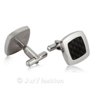 Black Silver Stainless Steel MENS Shirt Cufflinks Wedding New vv0079