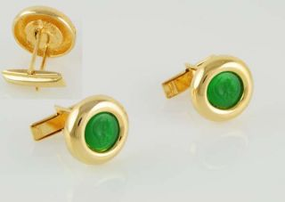 Green Resin Roman Soldier Mens Cuff Links 14kt Yellow Gold Ep