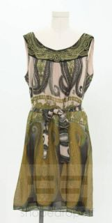 Donna Morgan Tan Black Green Embroidered Sleeveless Dress Size 10 New