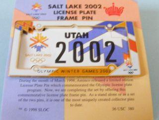 winter olympics license plate frame pin lapel pin badge usa slc winter
