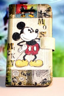 4S Disney Mickey Mouse Green Book Style Leather Case Cover