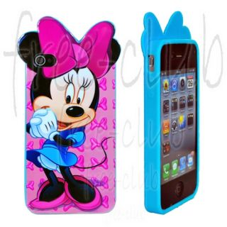 Disney Minnie Mouse Blue Skirt Pink Ribbon Case Cover for iPhone 4 4S