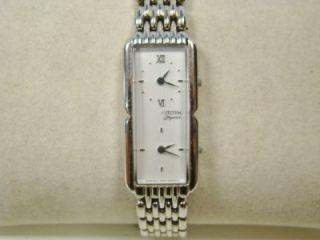 ladies stainless steel citizen elegance quartz watch dual time zones