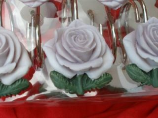 LAVENDER LILAC ROSE SHOWER HOOKS SET FLOWER DECOR