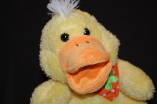 QUACKING Yellow Duck Bandana Hand Puppet Soft Plush Stuffed Animal