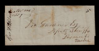 , Maine SFL stampless cover to Deputy Sheriff in Dixmont, ME.; Wilcox