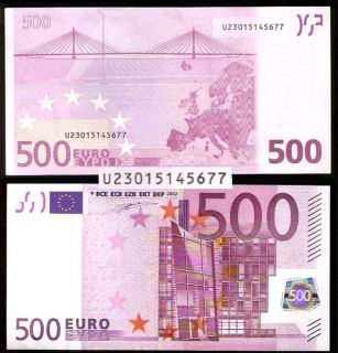 555 RARE €500 o Note France U UNC T001 Sign Duisenberg