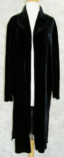 Chicos Long Black Stretch Velvet Duster Jacket Coat 3 L XL Open Front