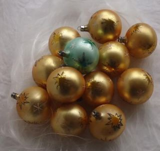 Vintage Blown Glass Fantasia Poland Christmas Ornaments Gold Space Age