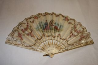 Antique Hand Painted Silk Fan 19th Century Eventail Abanico Faux