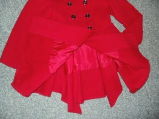 Next Girls Smart Winter Wool  Red Coat Lovely Design Age 7 8 Years
