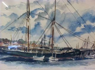 Vintage 1964 L A Dunton Mystic Seaport 24 x 20 Paul N Norton Signed