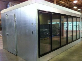 door walk in cooler with led lighting box only with 4 shelves per door