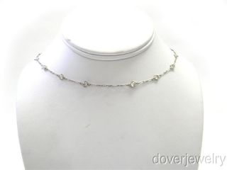 Antique Art Deco 4.00ct Diamond By Yard Platinum Necklace NR