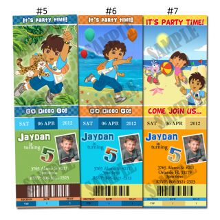 Dora The Explorer Go Diego Go Custom Birthday Party Invitation Ticket