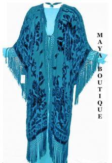Silk Caftan Jacket Kimono Coat Duster Dr Turquoise New