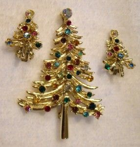 Vtg Dodds Rhinestone Christmas Tree Brooch Earrings Set