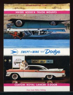 1957 Dodge Custom Royal Lancer Advertising Matchbook