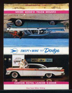 1957 Dodge Custom Royal Lancer Advertising Matchbook