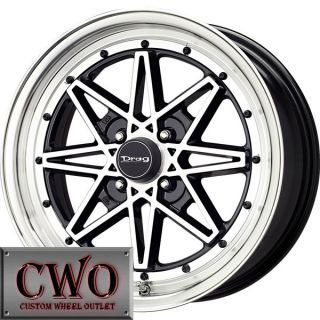15 Black Drag Dr 20 Wheels Rims 4x100 4 Lug Civic Mini Miata Cobalt XB