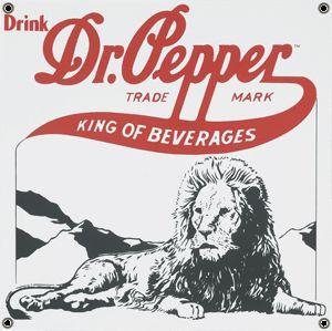 Drink Dr Pepper Lion Porcelain Coated Sign