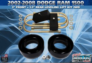 2002 2008 Dodge RAM 1500 3 Front 1 5 Rear Full Leveling Lift Kit 2WD