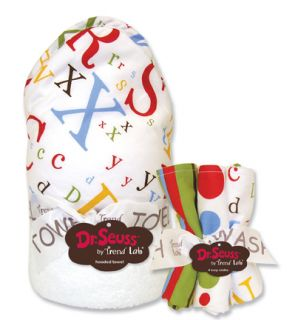 Trend Lab Dr. Seuss ABC Baby Bath Hooded Towel & Wash Cloth Set