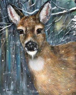 WHITETAIL DOE GICLEE of Painting DEER snow Wildlife Winter Kristine