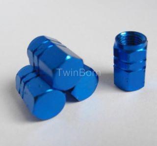 Tire Valve Stems Caps Air Dust Covers Auto Blue for Audi VW BMW