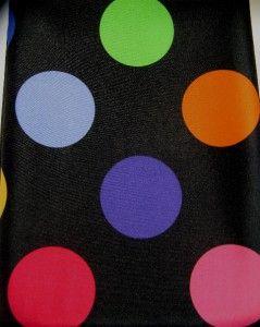 Black Zany Dot Fabric Shower Curtain Bold Multi Color Circles Retro