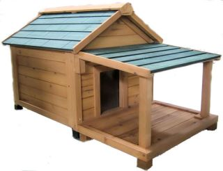 Simply Cedar Med Insulated Dog House with Porch Deck
