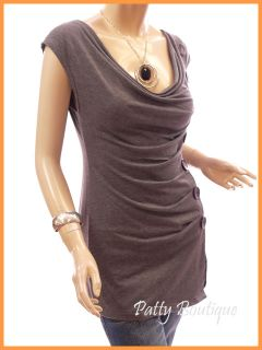Gray Cowl Neck Drapes Buttons Pleated Sleeveless Blouse Top, L