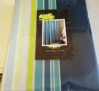 COOL STRIPES PEVA VINYL SHOWER CURTAIN NAVY BLUE GREEN LIME CLEAR NEW