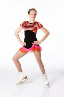 New Samba Salsa Black Orange Pink Skating Dress Medium