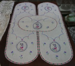 Vintage 3 Piece Runner Dresser Scarf Doily Set w Embroidered Southern