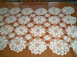 Lot of 2 Vintage Hand Crochet Lace Dresser Scarf Doilies