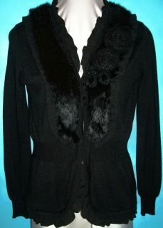New Dolce Cabo Black Fur Designer $159 Sweater Coat Jacket Small 4 6 8