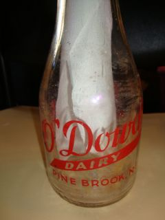VINTAGE ODOWDS DAIRY MILK BOTTLE ,PINE BROOK N.J QUART SIZE