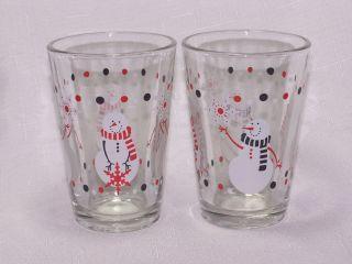 Christmas Snowman Juice Beverage Glasses Libbey Glass