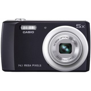 Digital Camera HD Video Casio QV R200 14 1 MP 5X Wide Angle Lens Black