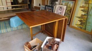 Mid Century Danish Modern drop leaf gateleg Dining Table after Bruno