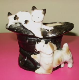 Vintage Ceramic Ashtray Top Hat Dog Cat Animals Japan